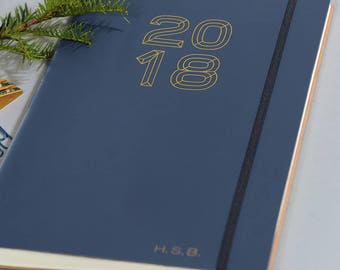Personalised Recycled Leather A4 Diary/Planner 2018 *FREE Initials*