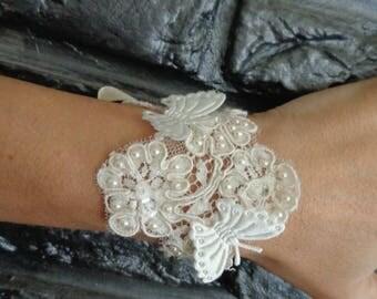 lace bracelet Ivory Pearl Butterfly stitched soft wedding evening wear