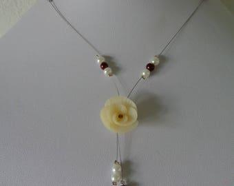 Brown ivory bridal bride wedding necklace