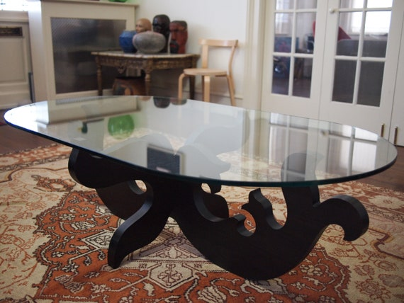 Eva ZEISEL COFFEE TABLE 58 x 33 Glass Top Wood