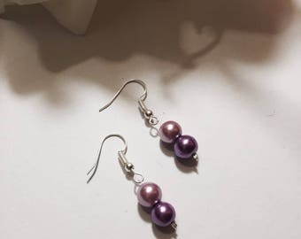 Parma violet Pearl wedding earrings * 3 lace *.