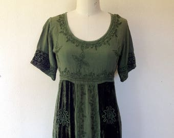 1990's Green indian maxi dress