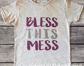 BLESS THIS MESS Toddler girl shirt, Little Hot Mess, Purple Silver Sparkle, gift