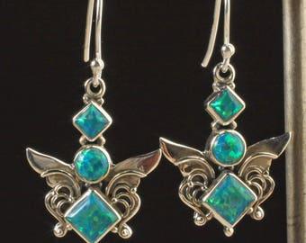 Lovely Green Fire Opal Sacred Angel Wings 925 Sterling Silver Earrings, 1 1/2 inch Long, 5.6 grams