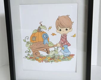 Precious Moments Boy and His Pumpkin Wall Art , Decor , Print , House , Home , Laminated , Gift , Autumn