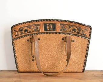 Tooled Leather Purse, Structured Leather Bag, Brown Handbag, Handmade Vintage Purse, Tan Leather Satchel // 1940s 50s Asian Dragon Motif