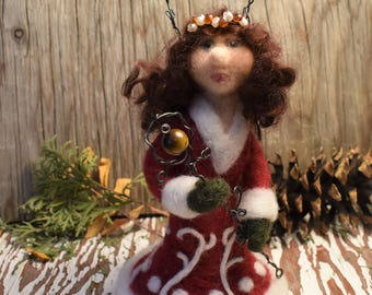 Needle Felted Doll, The Deer Princess, Scandinavian Folklore, Norse Mythology, Fiber Art Doll