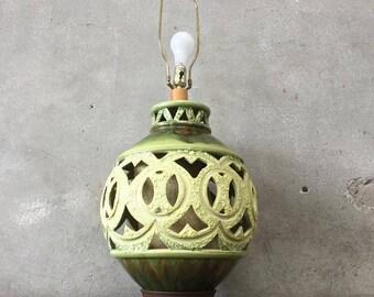 Mid Century Green Hollow Lamp (KWE2CL)