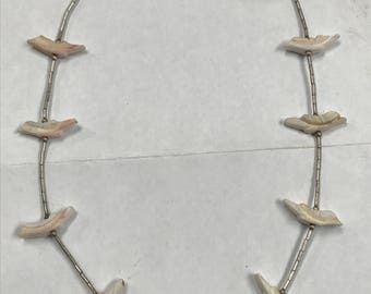 Gorgeous Unique Handmade Metal Silver Plate Necklace W/ Multi Dangling White Stone Birds