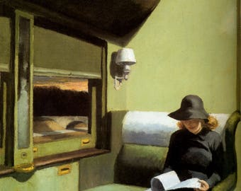 Compartment C, Car 193 by Edward Hopper Home Decor Wall Decor Giclee Art Print Poster A4 A3 A2 Large Print FLAT RATE SHIPPING