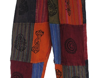 Cotton Patchwork Hippy Festival Travel Bright Trousers Pants with Real Patches (N31 Multicoloured)