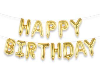 """Happy Birthday 16"""" Gold Foil Letter Balloon Banner Kit"""