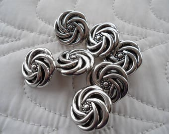 7 silver color plastic buttons-Swirl 20 mm buttons-Shank jacket buttons-Silver swirl buttons