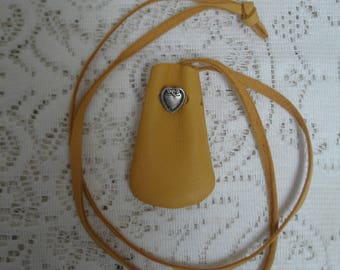 Small deerhide amulet pouch with heart button