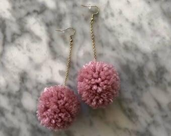 Single Color Pom Pom Earring