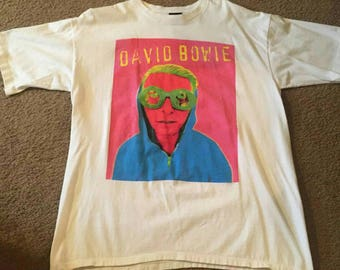 David Bowie tee T Shirt db Live Concert Tour official original White Size XL XLarge vintage made in the US brockum 1996 RARE!