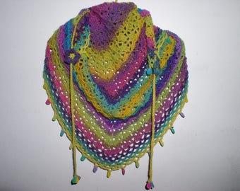 scarf/shawl, shawlette Gypsy beaded drops crochet yarn