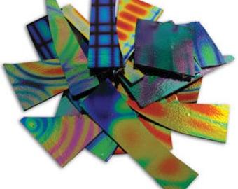 1/4 Lb DichroMagic Tie Dye Pattern Scrap-On Black-COE 90-Dichroic Scrap Glass-Dichroic Glass