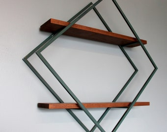 Modern Style Diamond Shelves, Walnut with Steel Frame in Forest Green, Ships from Detroit, MI
