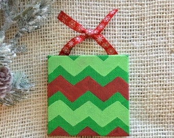 Mini canvas ornament - christmas ornament - green and red chevron - christmas decor - teacher gift - personalized ornament