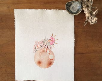 "Original watercolor painting - ""Autumn Moon"""
