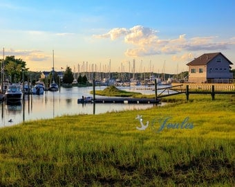 Scenic Wickford ~ Wickford, Rhode Island, Boats, New England, Ocean, Coastal, Seascape, Art, Photograph, Nautical, Artwork, Sailboats,Sunset