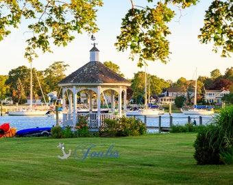 Wickford Gazebo ~ Wickford, Rhode Island, Boats, New England, Ocean, Coastal, Seascape, Art, Photograph, Nautical, Artwork, Sailboats,Sunset