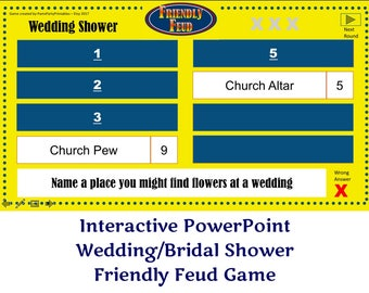 Wedding Bridal Shower Friendly Feud GAME ONE- Family Feud - Interactive PowerPoint Game - Bridal Shower Party Game  -  Family Friendly