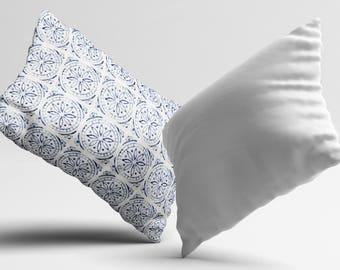 Blue PillowCase Moroccan Tile Throw Pillow Cover Geometric Accent Pillow Decorative Silk Pillow Cover Cushion Satin Pillow Toss Home Decor