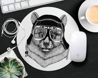 Bear Mouse Pad Animal in Glasses Cute Mouse Mat Funny Mouse Pad Round MousePad Hipster Mouse Mat Desk Accessories Animal Lover Gift iDea
