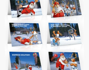 6 PACK of Baseball Christmas Cards - A5 Size - Funny Christmas cards