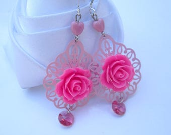Earrings pink print and pink cabochon