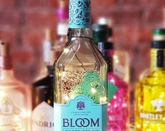 Upcycled, 70cl Bloom London dry Gin, led bottle lamp