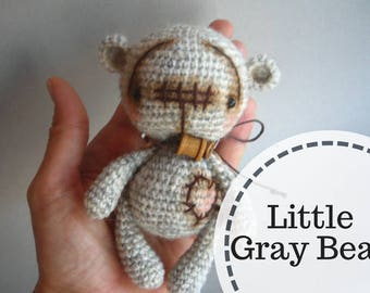 Little Gray Bear, Crochet Teddy Bear, Amigurumi