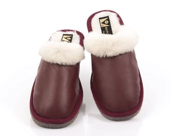 Sheepskin slippers. Bordeaux fur slippers. Fur slippers. Merinos slippers. Shearling slippers. Leather slippers. Women's slippers with sole.
