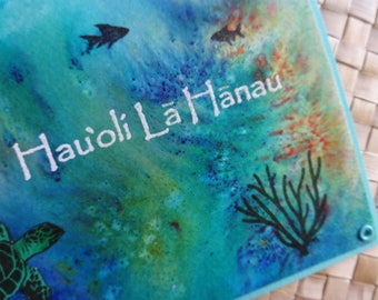 Hau'oli La Hanau: Hawaii birthday ocean-themed card with turtle, coral and fish