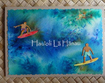"Hawaiian birthday card with surfers: ""Hau'oli La Hanau"""