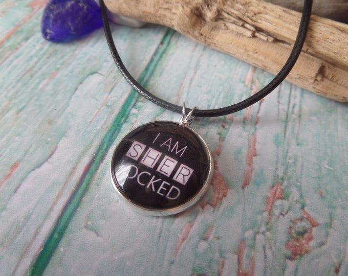 sherlocked gift, sherlock necklace, i am sherlocked, tv fan gift, sherlock holmes, fandom gift, sherlock gift, watson gift, sandykissesuk