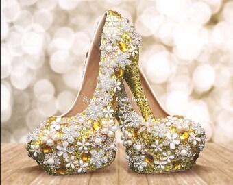 Womens Yellow Brooch Wedding Heels Brooch Pumps Bling Heels Yellow Rhinestone Stilettos