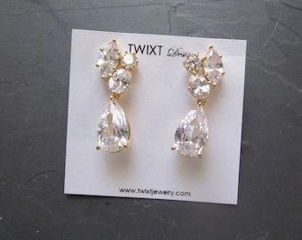crystal bridal earrings, crystal cluster earrings, gold crystal earrings wedding, crystal wedding earrings, dangle earring, crystal jewelry