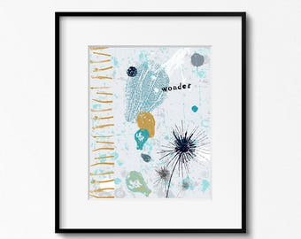 Dandelion Wall Art, modern plant wall decor, pods decor, modern bedroom wall decor, wall ideas, blue plant art, gift for her, 11x14