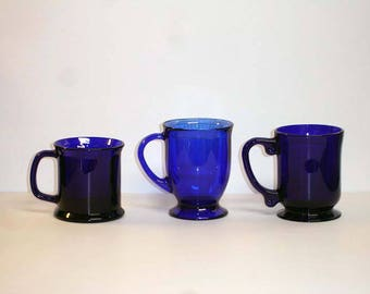 Cobalt Blue Glass Coffee Mug Set of Three Cobalt Blue Glass Mugs