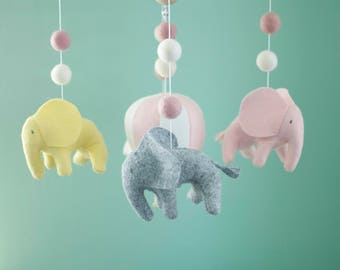 Elephant mobile, Hot Air Balloon mobile, baby crib mobile, Balloon Nursery Decor, Pink, white and grey baby room decor, Baby Shower Gift
