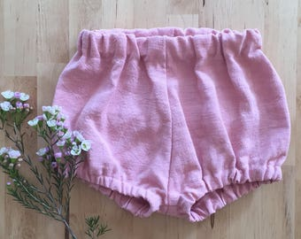 Pink linen bloomers / shorts / shorties / nappy cover / diaper cover