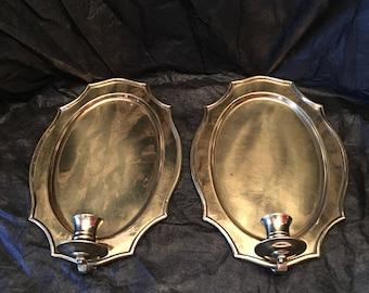 Brass Candleholder Scone ~ Set of Two ~ Vintage