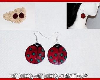 Original earrings! SWEET LADYBUG! red plastic size 2.8 cm x 3 cm belicious delicious creation
