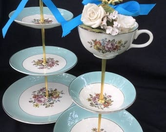 Turquoise Blue, Wedding Cake Stand, 3 Tier Serving Tray, Tidbit Tray, Antique Cunningham & Pickett Plates