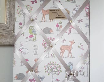 Handmade Fabric Memo / Photo / Notice / Memory Board -  Woodland Fabric with Satin Ribbon - (40x30cm) - Wrapped + ready to hang.
