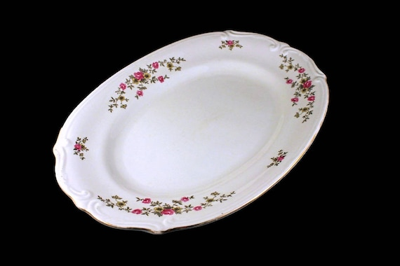 Oval Platter, Chodziez Poland China, Linda Pattern, Pink Roses, Embossed, Serving Platter, Gold Trimmed