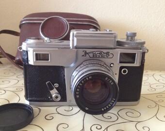 Vintage camera Kiev (Киев) 8M lens original camera case Soviet USSR camera Contax copy Soviet rangefinder camera Vintage photo